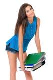 Девушка с папками Стоковые Изображения