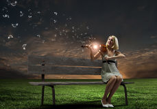 Девушка с скрипкой Стоковая Фотография RF