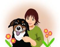 Девушка с собакой Стоковая Фотография