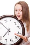 Девушка с часами Стоковые Изображения RF