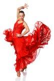 Девушка танцора Latino элегантности в действии Стоковые Изображения