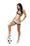 девушка футбола ее нижняя ноги довольно тонкая Стоковые Фотографии RF