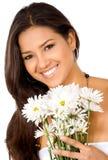 девушка цветков счастливая Стоковое Изображение RF