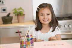 девушка чертежа изображает детенышей Стоковое Изображение