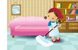 Девушка чистки Стоковое Фото