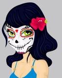 Девушка шаржа в мертвом составе маски Стоковая Фотография RF