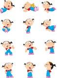 Девушка шаржа в различных представлениях Стоковые Фотографии RF