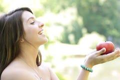 девушка яблока Стоковые Фото
