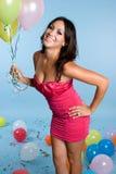 девушка дня рождения воздушного шара Стоковое фото RF