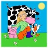 девушка друзей животной фермы ее обнимая детеныши Стоковые Изображения