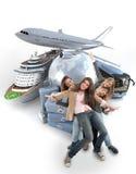 Девушки на путешествии мира Стоковые Изображения