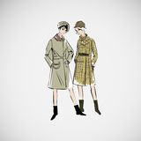 Девушки эскиза вектора в моде одевают eps Стоковые Изображения RF