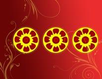 Декоративное pattrn круга с флористическим Стоковое Изображение