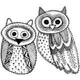 Декоративной нарисованный рукой милый Doodle эскиза сыча черно-белый вектор Стоковая Фотография RF