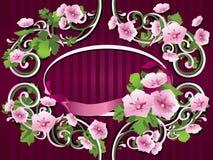 декоративные цветки обрамляют орнамент Стоковые Фото