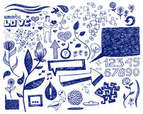 декоративные doodles романтичные Стоковые Фото