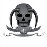 Декоративный логотип дьявола черепа вектора дизайна Стоковые Фото