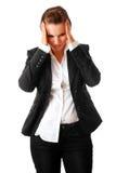 дело вручает головную женщину удерживания головной боли Стоковая Фотография RF