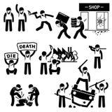 Демонстрация взбунтованная бунтом революции протестующих Cliparts Стоковое Изображение