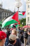 Демонстрация в центре главного европейского города Стоковое Изображение RF