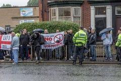 Демонстрация национального фронта с большим присутствием полиции Стоковые Изображения RF