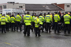 Демонстрация национального фронта с большим присутствием полиции Стоковое Фото