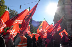 Демонстрация профессиональных союзов в Риме Стоковое Изображение