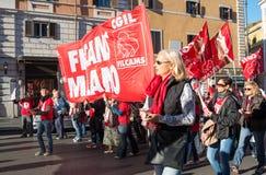Демонстрация профессиональных союзов в Риме Стоковые Изображения RF