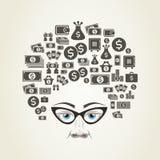 Деньги стиля причёсок Стоковое Изображение