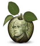 Деньги Яблоко Стоковое Фото