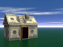 деньги дома имущества принципиальной схемы 3d реальные представляют Стоковое Изображение RF