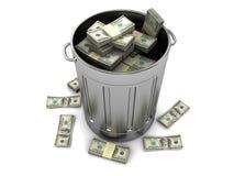 деньги trashcan Стоковые Изображения RF