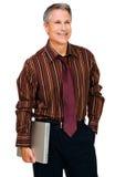 день бизнесмена мечтая компьтер-книжка удерживания Стоковая Фотография RF