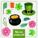 День Stpatrick установил для поздравительной открытки с шляпой Стоковые Фото