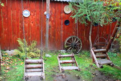 Деревенская деревянная спортивная площадка Стоковые Изображения
