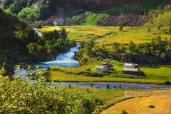 Деревня в Flam - Норвегии Стоковое Изображение