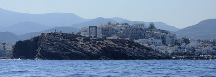 Деревня на греческой береговой линии Стоковое Изображение RF