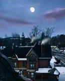 Деревня на ноче Стоковая Фотография