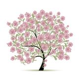 Дерево весны с цветками для вашего дизайна Стоковое Изображение