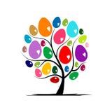 Дерево искусства с пасхальными яйцами для вашего дизайна Стоковое Фото