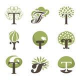 Дерево. Элементы конструкции. Установленные шаблоны логоса вектора Стоковые Изображения