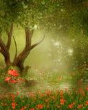 Дерево фантазии прудом Стоковое Фото