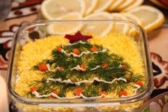 Дерево crismas Нового Года праздничной таблицы счастливое Стоковая Фотография