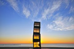 Деревянная башня на пляже Barceloneta Стоковая Фотография RF