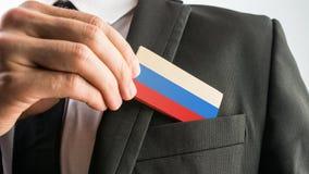Деревянная карточка покрашенная как русский флаг Стоковые Изображения RF