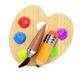 Деревянная палитра искусства с инструментами Стоковая Фотография RF