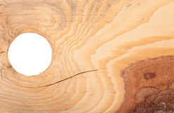 Деревянная текстура с расшивой и круглым отверстием Стоковое фото RF