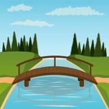 деревянное моста малое Стоковая Фотография