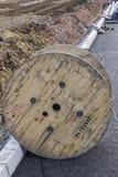 Деревянный вьюрок кабеля Стоковое Фото