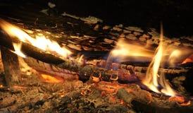 Деревянный гореть журналов Стоковая Фотография RF